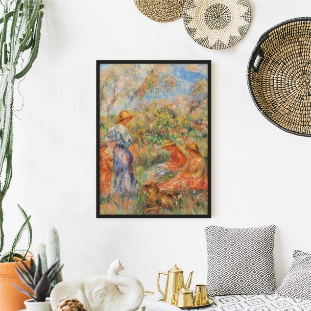 Bild mit Rahmen - Auguste Renoir - Landschaft mit Frauen und Kind - Hochformat 3:4