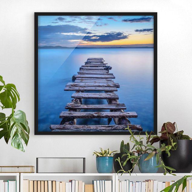 Bild mit Rahmen - Steg ins ruhige Meer - Quadrat 1:1
