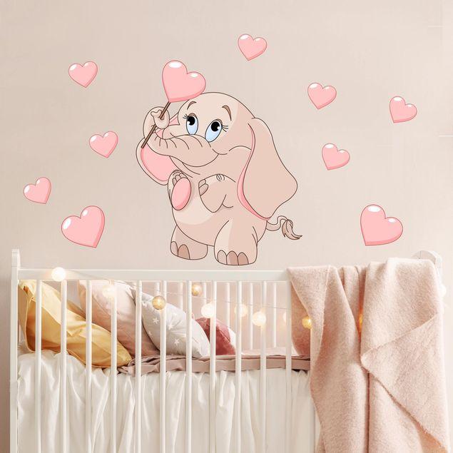 Wandtattoo - Elefantenbaby mit rosa Herzen