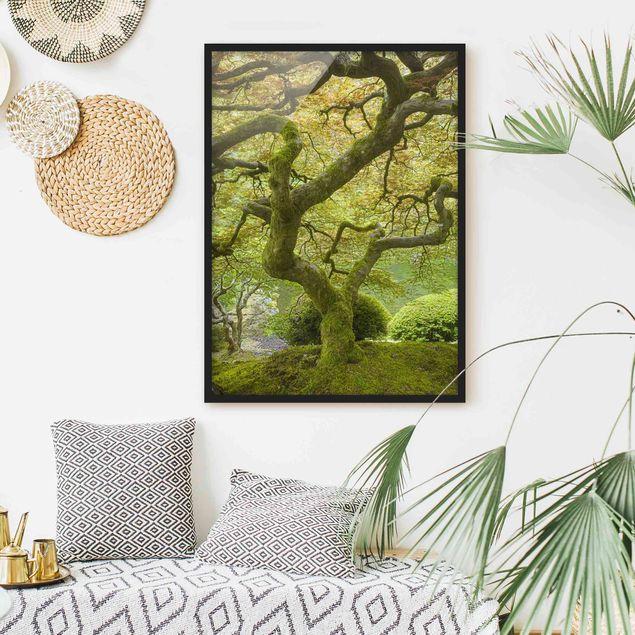 Bild mit Rahmen - Grüner Japanischer Garten - Hochformat 3:4