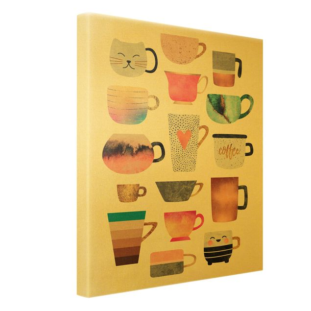 Leinwandbild Gold - Bunte Tassen mit Gold - Hochformat 3:4