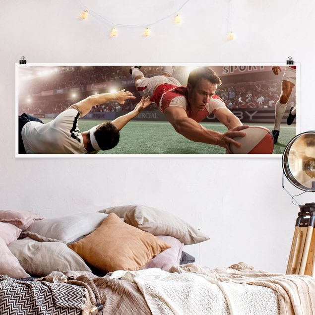 Poster - Rugby-Action - Panorama Querformat