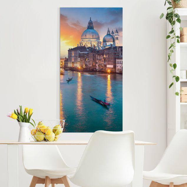 Leinwandbild - Sunset in Venice - Hochformat 1:2