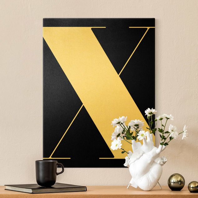 Leinwandbild Gold - Antiqua Letter X Schwarz - Hochformat 3:4