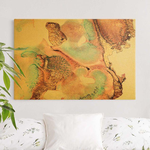 Leinwandbild Gold - Goldenes Aquarell Rosé - Querformat 3:2