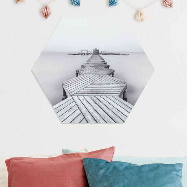Hexagon Bild Forex - Hölzerner Pier und Schwarz-weiß