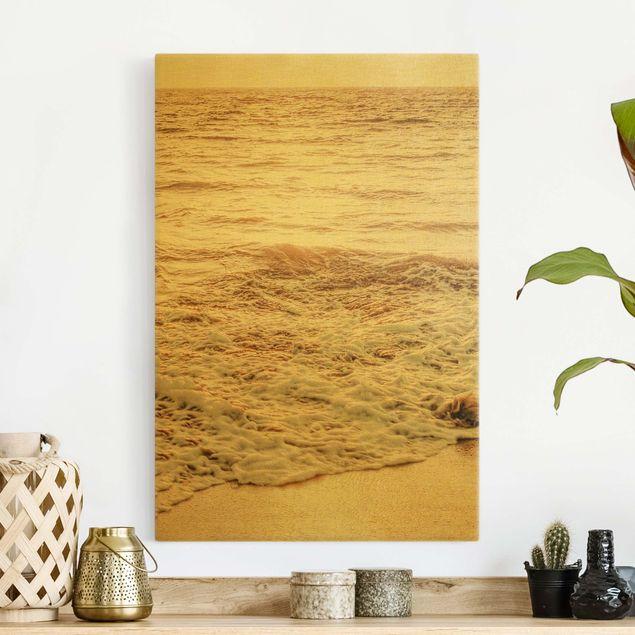 Leinwandbild Gold - Goldener Strand - Hochformat 2:3
