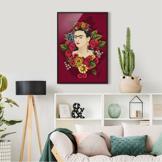 Bild mit Rahmen - Frida Kahlo - Rosen - Hochformat 3:4