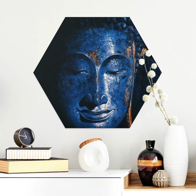 Hexagon Bild Alu-Dibond - Delhi Buddha