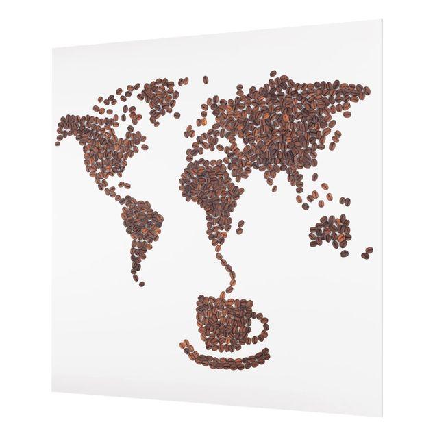 Glas Spritzschutz - Kaffee um die Welt - Quadrat - 1:1