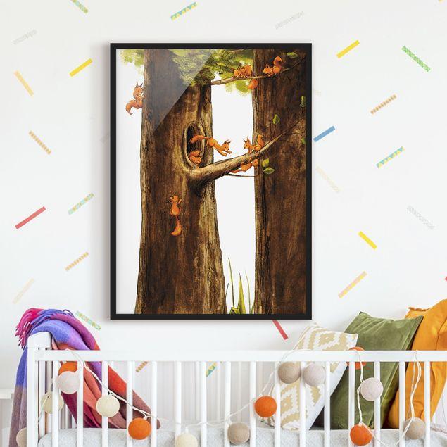Bild mit Rahmen - Zuhause der Einhörnchen - Hochformat 3:4
