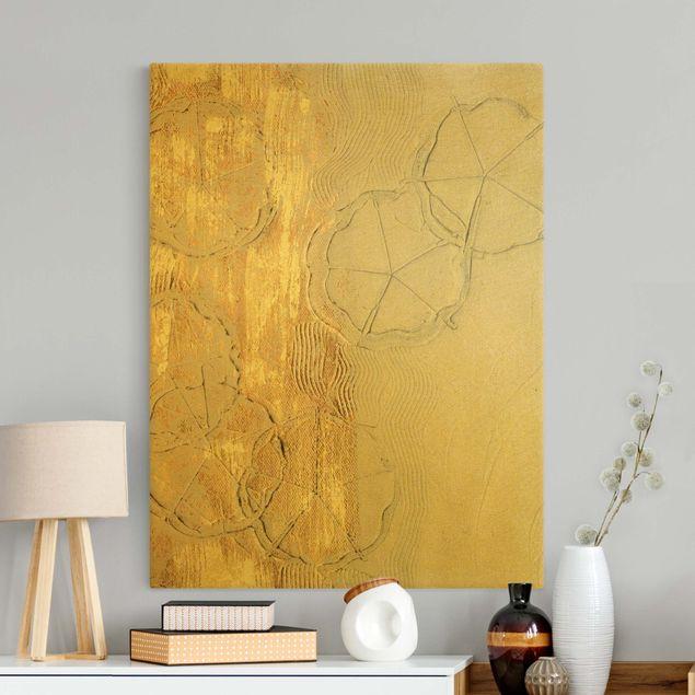 Leinwandbild Gold - Kirschblütensaison Gold I - Hochformat 3:4