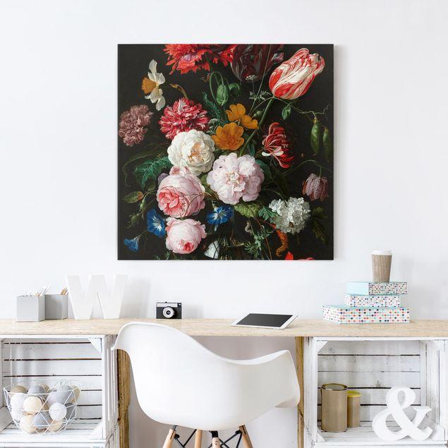 Leinwandbild - Jan Davidsz de Heem - Stillleben mit Blumen in einer Glasvase - Quadrat 1:1