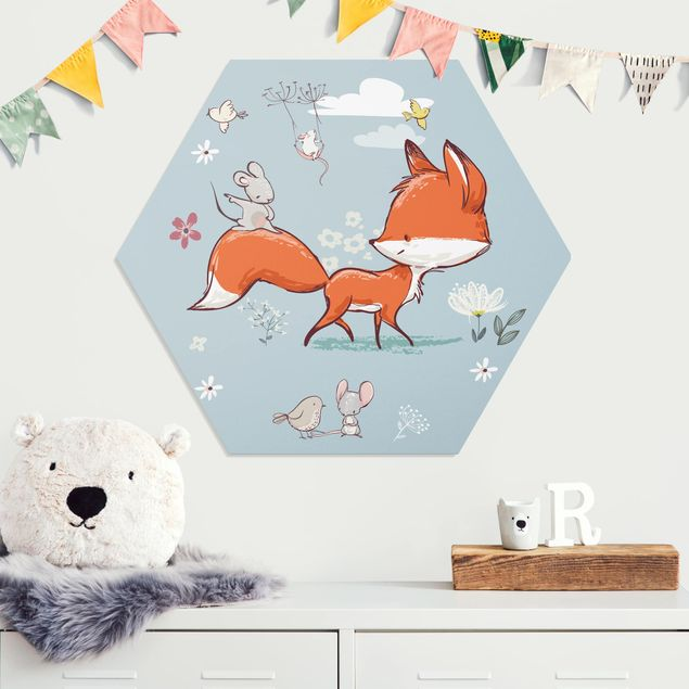 Hexagon Bild Forex - Fuchs und Maus auf Wanderschaft