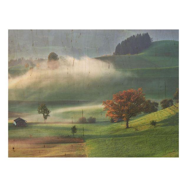 Holzbild - Nebliger Herbsttag Schweiz - Querformat 3:4