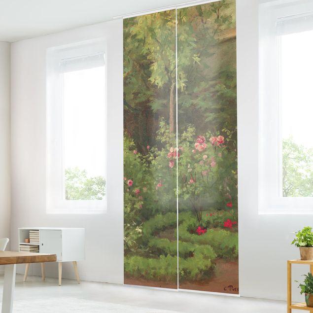 Schiebegardinen Set - Camille Pissarro - Ein Rosengarten - 3 Flächenvorhänge