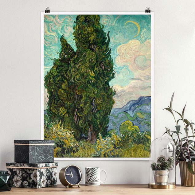 Poster - Vincent van Gogh - Zypressen - Hochformat 3:4