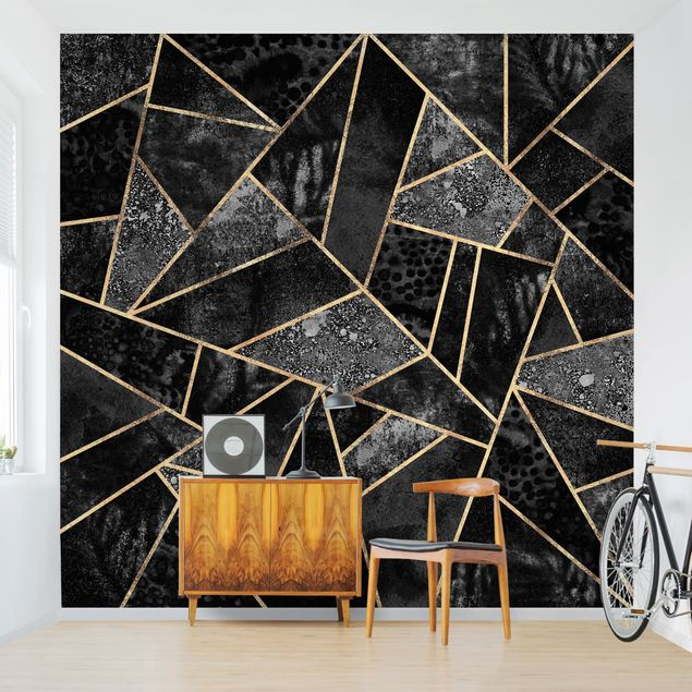 Fototapete - Graue Dreiecke Gold - Fototapete Quadrat