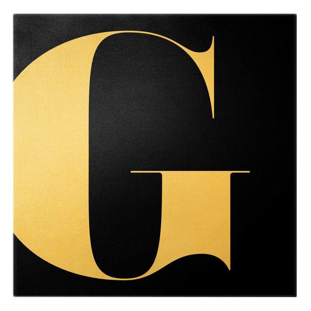 Leinwandbild Gold - Antiqua Letter G Schwarz - Quadrat 1:1
