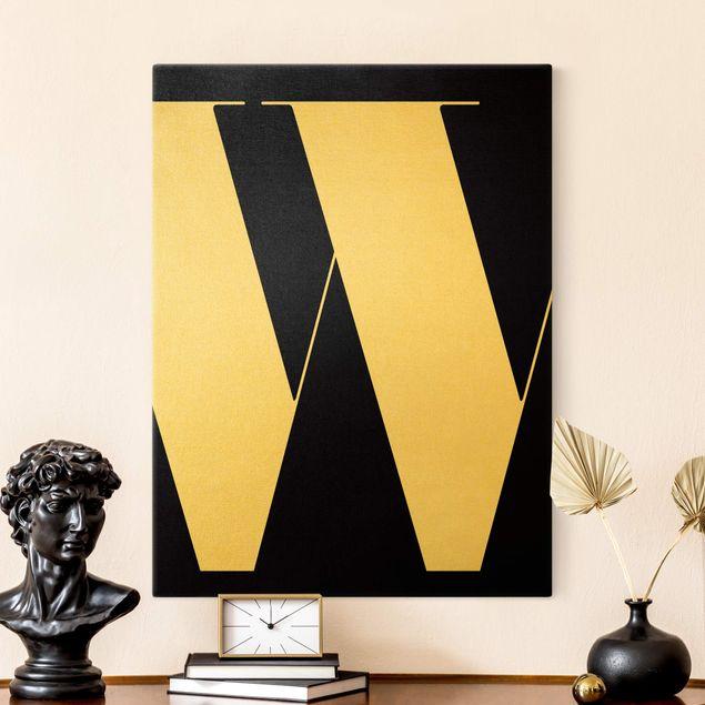 Leinwandbild Gold - Antiqua Letter W Schwarz - Hochformat 3:4