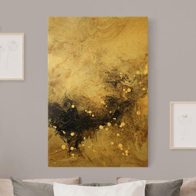 Leinwandbild Gold - Goldener Treibsand I - Hochformat 2:3