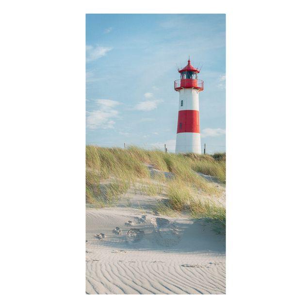 Leinwandbild - Leuchtturm an der Nordsee - Hochformat 1:2