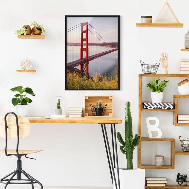 Bild mit Rahmen - Golden Gate Bridge in San Francisco - Hochformat 3:4