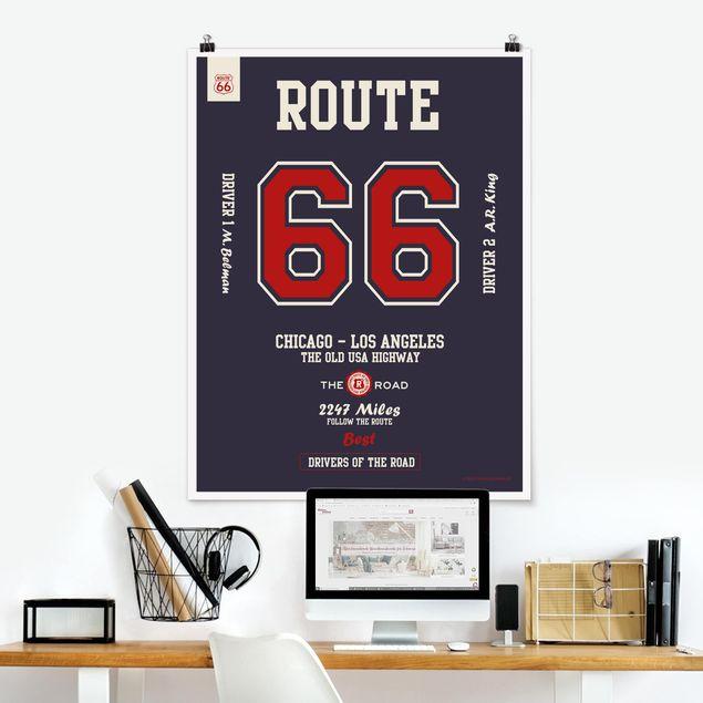 Poster - Route 66 - Best Drivers dunkel - Hochformat 3:4