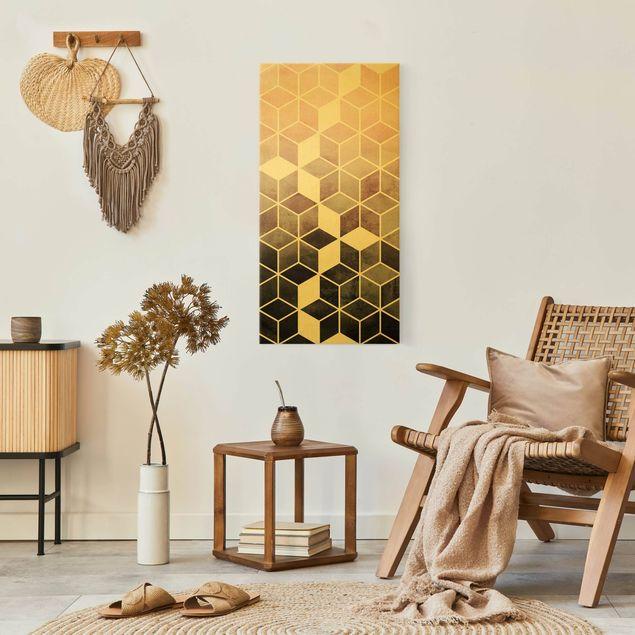 Leinwandbild Gold - Goldene Geometrie - Rosa Grau - Hochformat 1:2