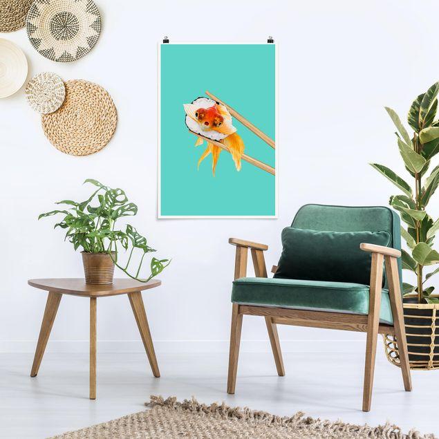 Poster - Jonas Loose - Sushi mit Goldfisch - Hochformat 3:2