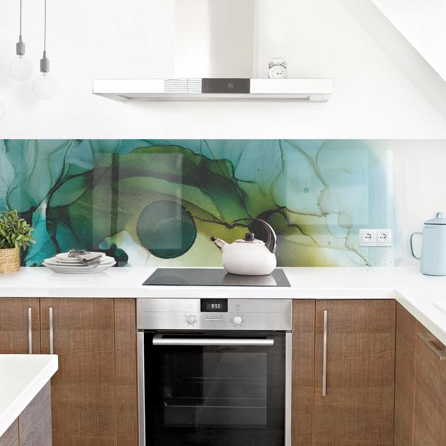 Küchenrückwand - Goldener Waldspaziergang
