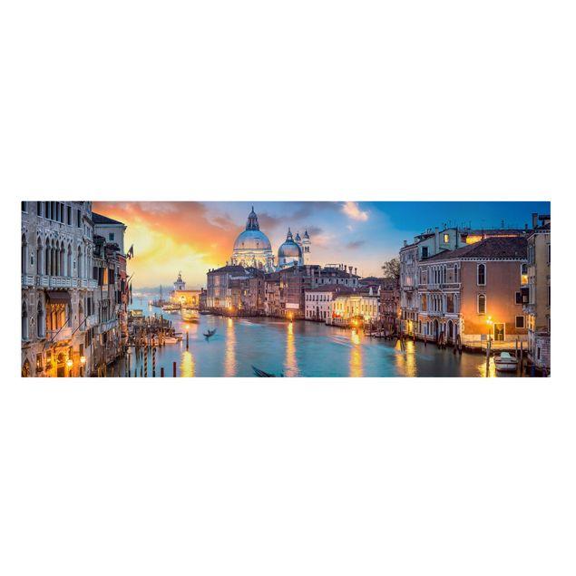 Leinwandbild - Sunset in Venice - Panorama 3:1