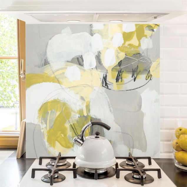 Glas Spritzschutz - Zitronen im Nebel I - Quadrat - 1:1