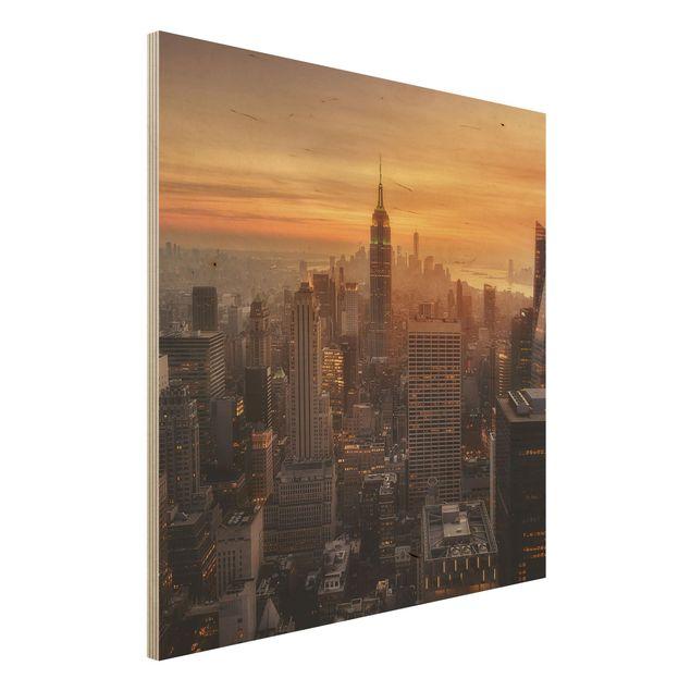 Holzbild - Manhattan Skyline Abendstimmung - Quadrat 1:1