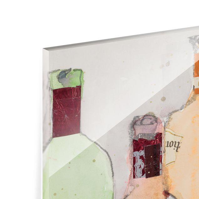 Glas Spritzschutz - Weinflaschen in Wasserfarbe II - Querformat - 4:3