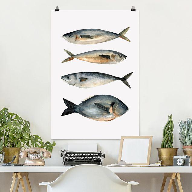 Poster - Vier Fische in Aquarell I - Hochformat 3:2