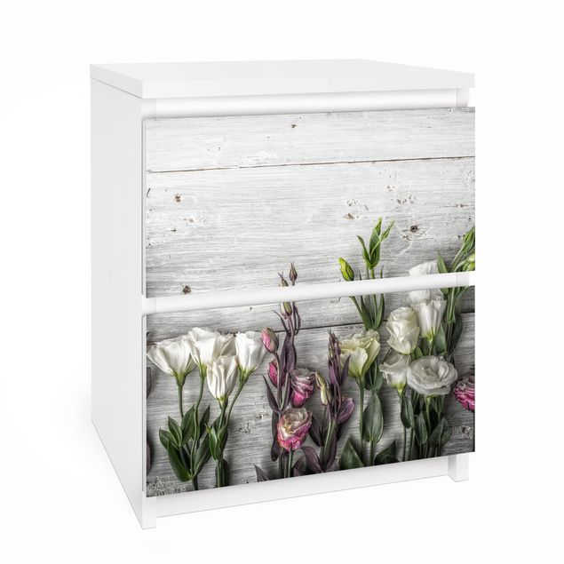 Möbelfolie für IKEA Malm Kommode - Tulpen-Rose Shabby Holzoptik - Selbstklebefolie