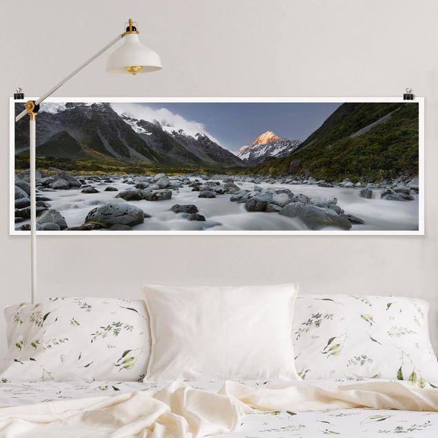 Poster - Aoraki über dem Hooker River - Panorama Querformat