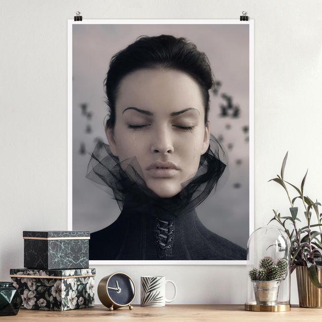 Poster - Porträt einer weinenden Frau - Hochformat 3:4