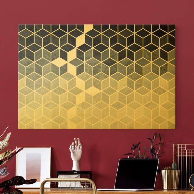 Leinwandbild Gold - Goldene Geometrie - Blau Weiß - Querformat 3:2