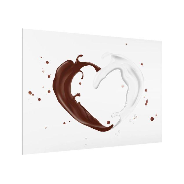 Glas Spritzschutz - Schokoladen Milch Herz - Querformat - 4:3