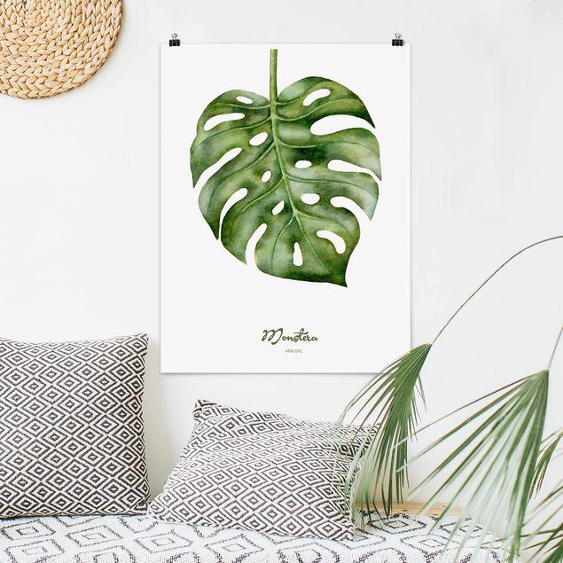 Poster - Aquarell Botanik Monstera - Hochformat 3:4