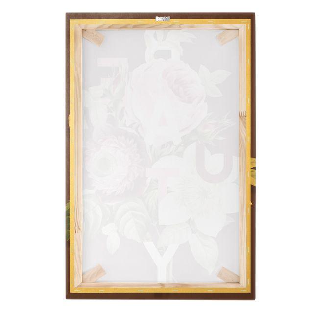 Leinwandbild Gold - Florale Typografie - Beauty - Hochformat 2:3
