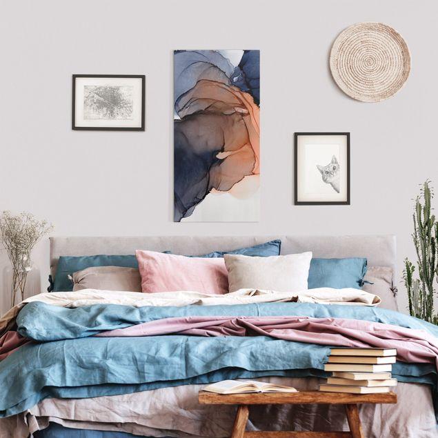 Leinwandbild - Ozeantropfen Blau-Orange mit Gold - Hochformat 1:2