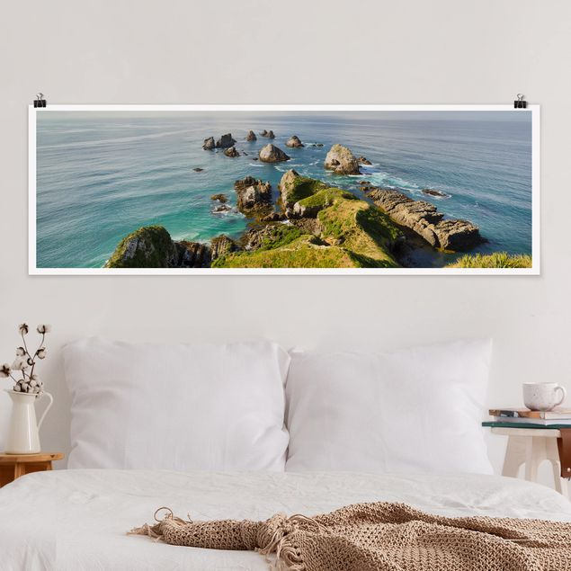 Poster - Nugget Point in Neuseeland - Panorama Querformat