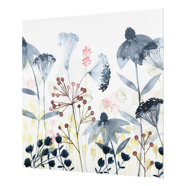 Glas Spritzschutz - Wildblumen Aquarell I - Quadrat - 1:1