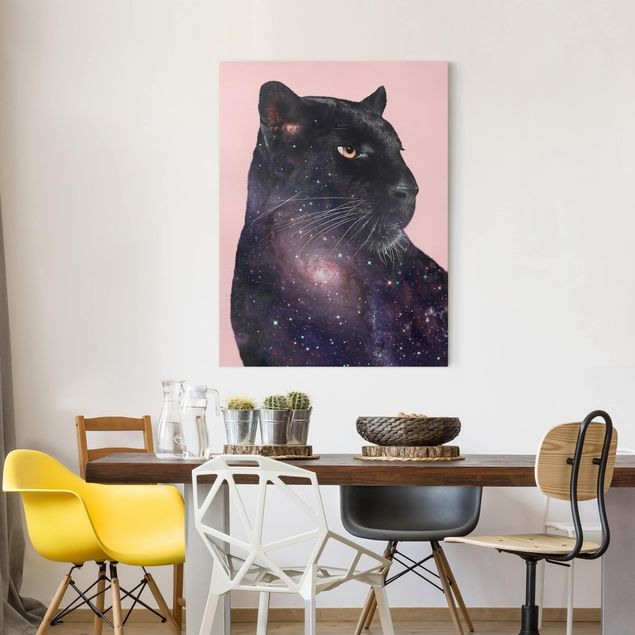 Leinwandbild - Jonas Loose - Panther mit Galaxie - Hochformat 4:3