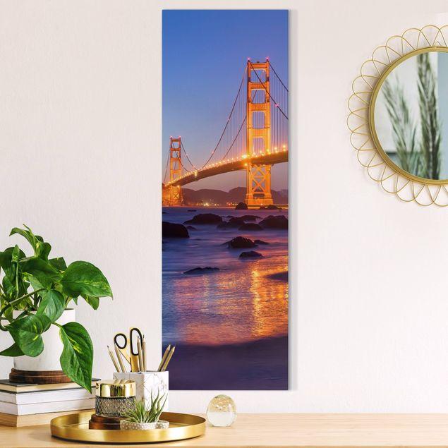 Leinwandbild - Golden Gate Bridge am Abend - Panorama Hochformat 1:3