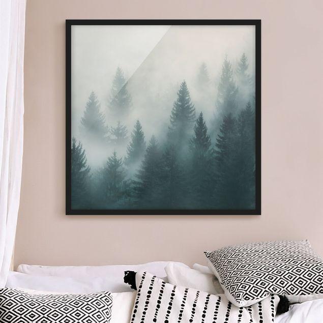 Bild mit Rahmen - Nadelwald im Nebel - Hochformat 3:4