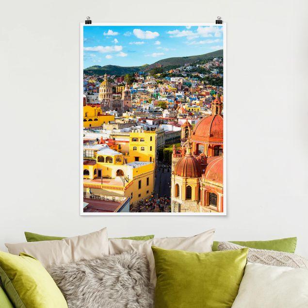 Poster - Bunte Häuser Guanajuato - Hochformat 3:4
